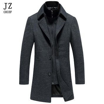 JZ CHIEF Wool Coat Men Long Dress Coats For Men Trench Coat Mens Peacoat Slim Fit Winter Jacket Men Overcoat Jackets Wool Blends