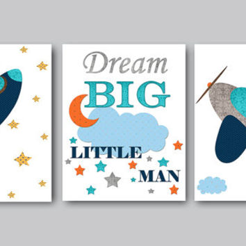 Baby Boy Nursery Quotes Dream Big Little Man Childrens Art Print Nursery Prints Boy Playroom Wall Art Kids Art Set of 3 Navy Blue Gray