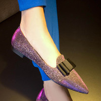 Pointed Toe Butterfly Flat Leather Shoes [4920469892]