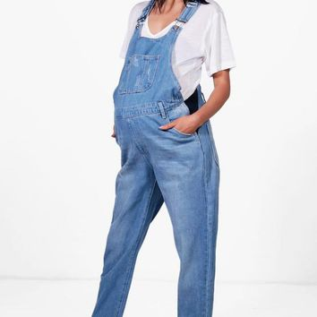 Maternity Annie Denim Dungaree | Boohoo