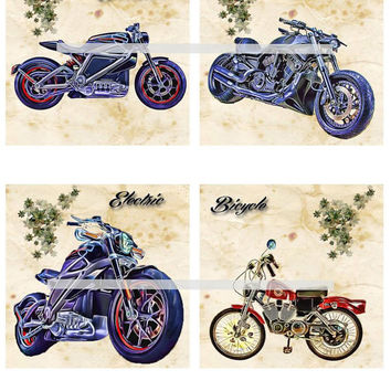 Harley Electric & Bicycle Motorcycles Altered Art - Coasters Artwork, 4.0 inch Squares, Arts and Craft Projects