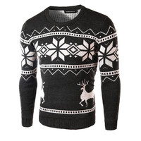 mens snowflake knitting sweater