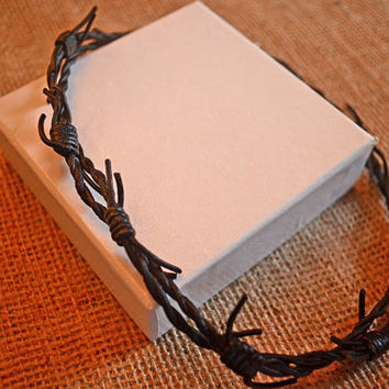 Black Twisted Barbed Wire Leather Cord Necklace