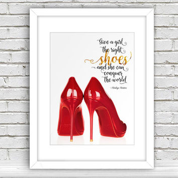 Christian Louboutin Shoes - Fashion Illustration, Inspirational Print, Motivational Poster, DIY printable Gift Idea, Dorm Wall Decor CP-733