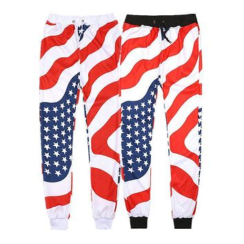 ISTider Men Women Jogger Pants American Flag Printed Harem Pants Unisex Joggers Trousers Sweatpants Winter Track Pants Homme