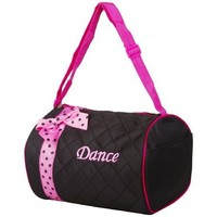 Girl's Quilted Nylon Dance Duffle Bag w/ Pink Polka Dot Bow (Black)