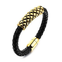 Men's Leather Rope Bracelet with Gold Stainless Steel, Magnetic Clasp