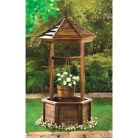 Rustic Natural Wood Wishing Well Planter