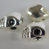3PCS - Skull Charms - Silver Toned with Black Rhinestone Eyes - 12mm