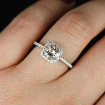 BACK IN STOCK Barra Original Size 14kt White Gold Morganite Diamond Cushion Halo Engagement Ring (Other metals and stone options available)
