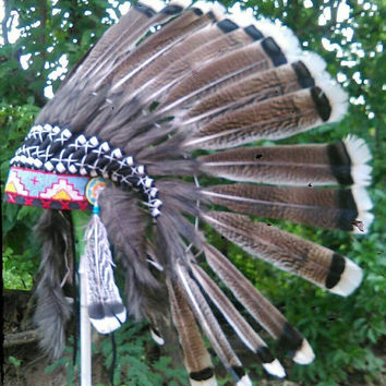 SALE Turkey Feather Indian Headdress, Turkey Feather Warbonnet, Native American Costume, Indian headdress, Pow wow,Tee pee party,Decorations
