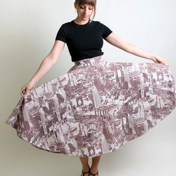 $102.00 Vintage Circle Skirt in Manhattan NYC Print by zwzzy