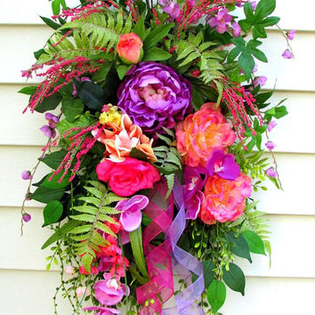 Door Swag, Spring Wreaths For Front Door, Summer Door Wreath, Spring Door Wreath, Spring Door Swag, door swags Summer, door swag peony