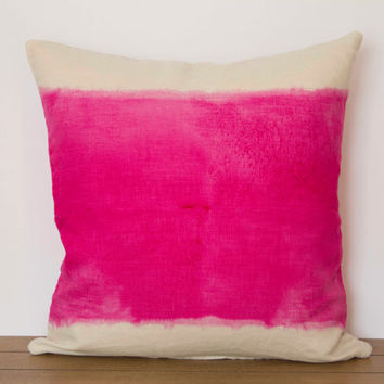 "Pink Pillow Cover- 16""x16"" Decorative throw pillow cover, pink dip-dye"
