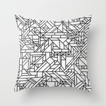 GEOMETRIC BLACK AND WHITE OUTLINES SHAPES MINIMAL MINIMALIST DIGITAL PATTERN Throw Pillow by AEJ Design