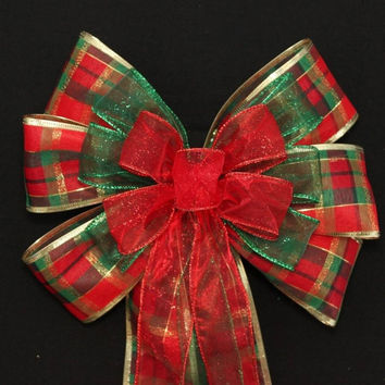 Traditional Plaid Glitter Wire Edge Christmas Bows