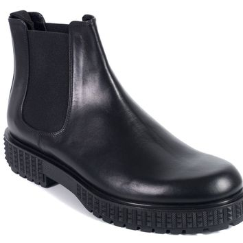 Valentino Mens Black Leather Rockstud Platform Chelsea Boots