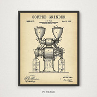 Coffee Grinder Patent Printable, 4 COLORS Patent Print, Coffee Poster, Kitchen Wall Art Vintage Coffee grinder Coffee Lover Digital Download