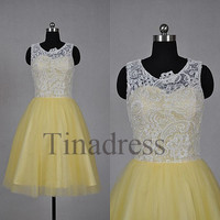 Custom White Lace Yellow Tulle Short Prom Dresses Evening Dresses Party Dresses Bridesmaid Dresses 2014 Homecoming Dress Cocktail Dresses
