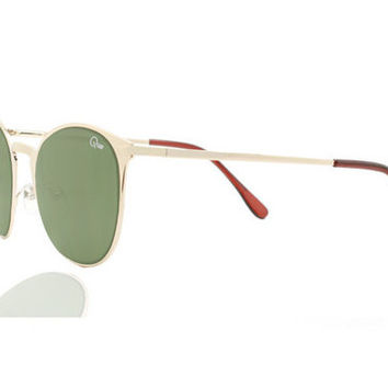 Quay Bailey Gold Sunglasses, Green Lenses