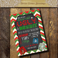UGLY SWEATER Invitation Christmas Ugly Sweater Party Invitations Annual Christmas Party Holiday Invite Ugly Sweater Invite printable chevron