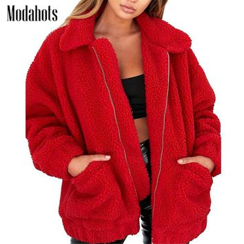 9 Colors Faux Fur Coat Women Winter Warm Soft Zipper Fur Jacket Female Plush Overcoat Casual Long Sleeve Fuzzy Outerwear