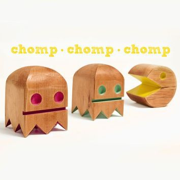 Pac Man Bots set of three made from reclaimed by WilliamDohman