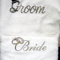 BRIDE/GROOM wedding embroidered bath towels by letsdecorateonline