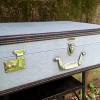 """Wheary Vintage 26"""" Hard Side Suitcase Pale Blue Black Leather Trim"""