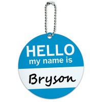 Bryson Hello My Name Is Round ID Card Luggage Tag