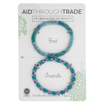 Glass Bead Roll-On Friendship Bracelets - Mermaid