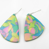 Colorful polymer clay earrings - shimmering colorful dangle earrings