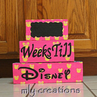 disney countdown, countdown blocks, minnie mouse, Wood Block set, Vacation Countdown, advent calendar,  Disney Sign, Disney Vacation