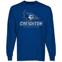 Creighton Bluejays Distressed Primary Long Sleeve T-Shirt - Royal Blue