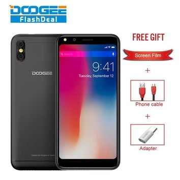 DOOGEE X53 1GB 16GB 5.3 inch 18:9 Screen Cell Phone 2200mAh 5.0MP Camera Mobile phone MTK6580 Quad Core Android 7.0 Smartphone