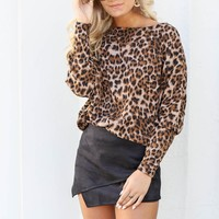 Truth Be Told Brown Leopard Print Top