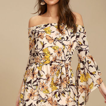 Blushing Blooms Blush Floral Print Off-the-Shoulder Dress