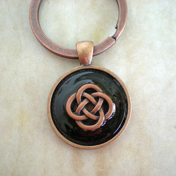 Celtic Knot Keychain: Black - Celtic Keychain - Mystic Knot - Endless Knot - Men's Keychain - Men's Keyring - Cute Keychain - Men's Gift