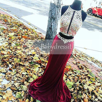 Luxury Off the Shoulder Girl Mermaid Two Piece Prom Dress 2017 Long O neck Sparkly Crystals Burgundy Prom Dresses Real Picture