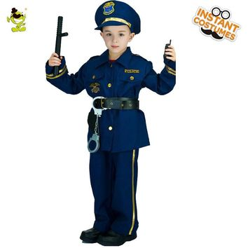 QLQ 2018 Hot Sale Boys Police Costume Cosplay Career Halloween Party Role Play Boys Cool Police Suit For Kids Costumes