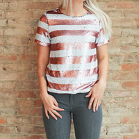 Emma Sequin Stripe Top - Pink