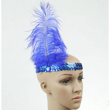 Fashion Feather Headband 1920\'s Flapper Sequin Headpiece Costume Funny Head Band Party Favor