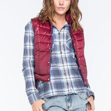 Billabong Stand Bye Me Womens Quilted Vest Burgundy  In Sizes