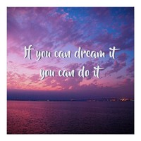 """Dream It Do It"" Quote Purple Ocean Sunset Photo Poster"