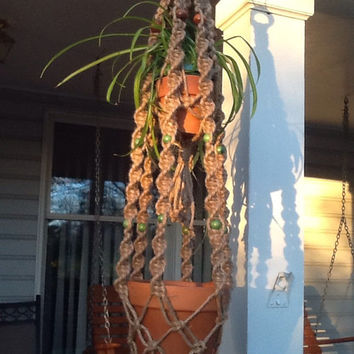 Macrame Plant Hanger, two tier, double hanger, natural 6 ply jute with green and brown wooden beads, retro style, rustic decor hanger