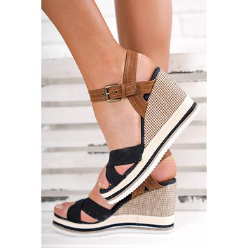 On The Low Striped Wedges (Black)