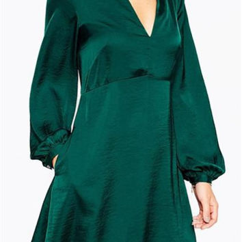 Retro Fashion Deep V Side Pocket Lantern Sleeve Dress