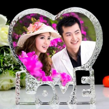 Customized Love Heart Shaped Crystal Photo Album Pictures Stickup Photo Frame for Wedding Decoration Friends Family Lover Gifts