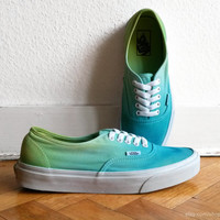 Summer green ombre Vans Authentic sneakers, upcycled shoes, size US Men's 8.5 (US Wo's 10, UK 7.5, eu 41)