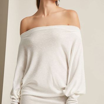 Marled Ribbed Off-the-Shoulder Tunic